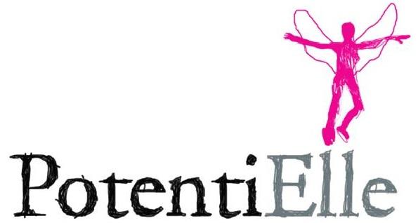 Logo PotentiElle et femme rose très court